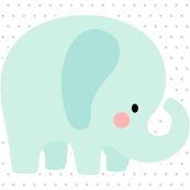 elephant mint front mod baby » plush + pillows // one yard
