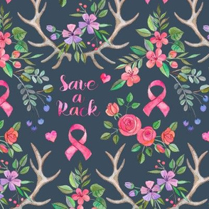 Save a Rack - antlers and watercolor flowers on dark grey blue