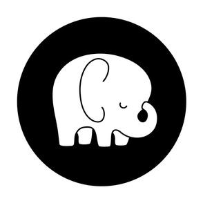 sleepy elephant black mod baby » plush + pillows // fat quarter