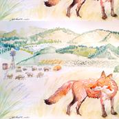 Fox on Farm by Liz H Lovell-ed