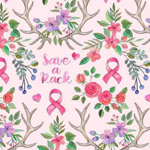 Save a Rack - antlers and watercolor flowers on pink