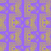 Whimsical Wayward Stripe - Lime Green on Purple