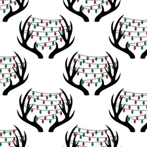 christmas lights on antlers || white