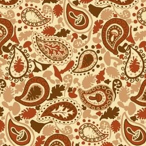 Autumn Paisley // Brown and Red
