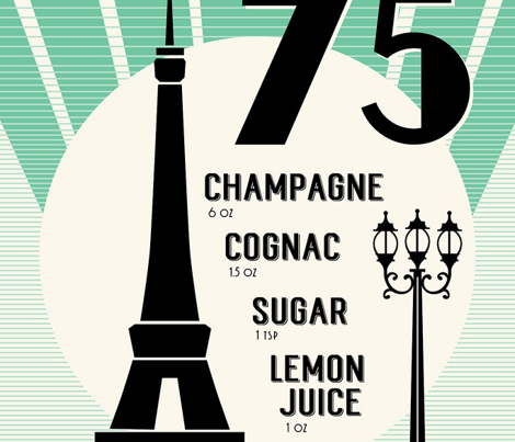 French 75 Cocktail Tea Towel