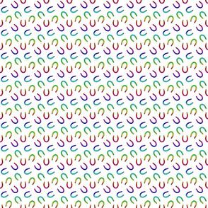 Tiny horseshoe prints - rainbow on white