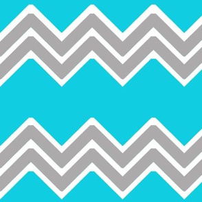 Turquoise Teal Blue Gray Grey Tribal Chevron
