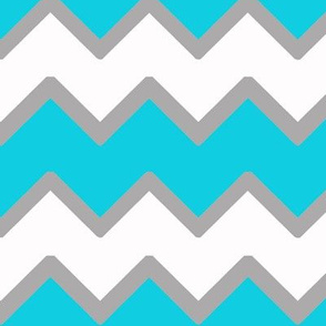 Turquoise Teal Blue Gray Grey Chevron