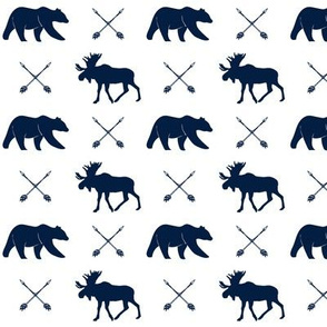 moose, bear, and arrows  (small scale) || the northern lights collection - navy