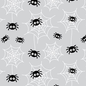 spiders and webs on ultra light slate grey » halloween monochrome