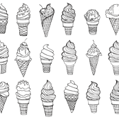 Ice Cream Cones, Drawing, Black on White