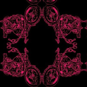 Damask - Moto Damask in Pink on Black