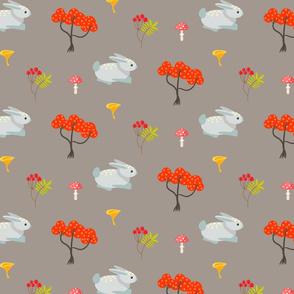 Autumn trees, bunny and rowan