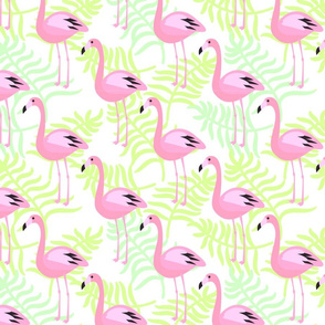 Flamingo and palm leaves
