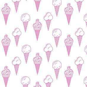 Pink ice cream waffle cone