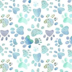 Paw Prints - blue