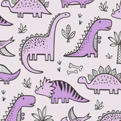 Dinosaurs in Purple on Pink