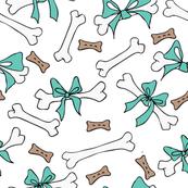 Dog Bones White and Turquoise