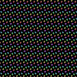 Tiny kitty cat paw prints - rainbow on black