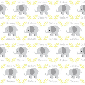 Elephants in row MEDIUM - gray yellow leaves PERSONALIZED gray Jackson