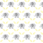 Elephants in row MEDIUM - gray yellow leaves