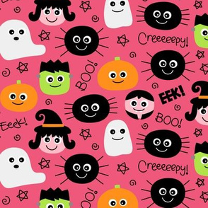 halloween cuties on hot pink