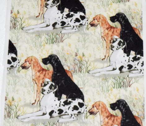 Harlequin Black and Brindle Great Danes in Wildflowers for Pillow
