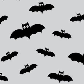 bats on ultra light slate grey » halloween monochrome