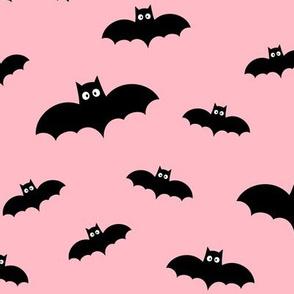 bats on light baby pink » halloween