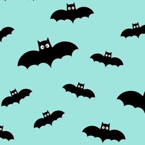 bats on light baby teal blue » halloween