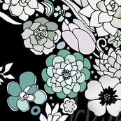 Colorful black detailed floral pattern