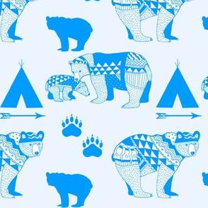 6-Geo_Bear_Family_Indian_Tee_Pee_Arrow_Paw_print_BLUE-FINAL
