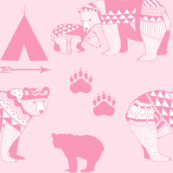 6-AZTEC Geo_Bear_Family_Indian_Tribal Tee_Pee_Arrow_Paw_print_PINK-FINAL