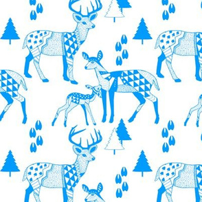 8 Geo Deer Family Tribal Woodland-Light BLUE