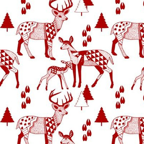 8 Geo Deer Family Tribal Woodland-Drk_RED