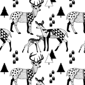 8 Geo Deer Family Tribal Woodland-BLACK_&_WHITE_Winter