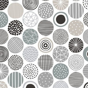Dots Geometrical Patterned Black&White Grey