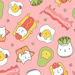 Funny succulent, hot dog, bacon and egg cats