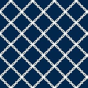 Michigan Navy Blue Diamond Trellis