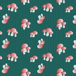 Cute mushrooms - Fliegenpilze - petrol