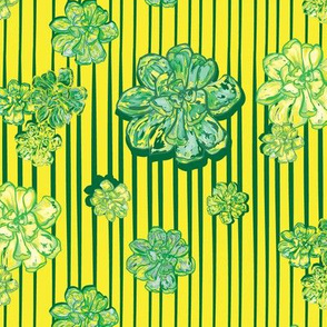 Succulents on yellow with green stripe
