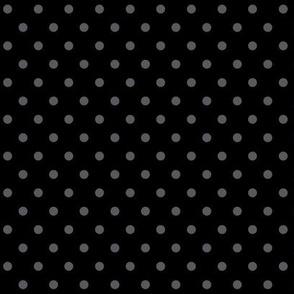 halloween » dotty dark grey on black - monochrome