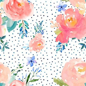 Floral Sweet Pastel - Shibori Blue Polka Dots and Blue Branches