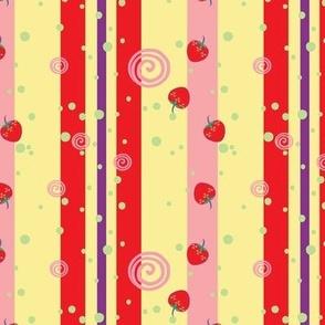 Bright Strawberry Swirl Stripes Pattern