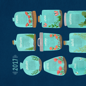 2017 Terrarium Calendar - Navy