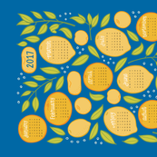 2017 Citrus Tea Towel Calendar - Royal Blue