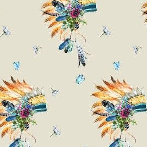 Young Souls Run Wild and Free - Indian Headdress in Tan