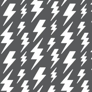 lightning bolts white on dark grey » halloween - monochrome