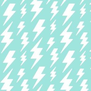 lightning bolts white on light baby teal blue » halloween