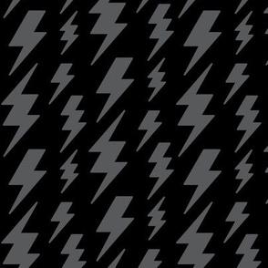 lightning bolts dark grey on black » halloween - monochrome